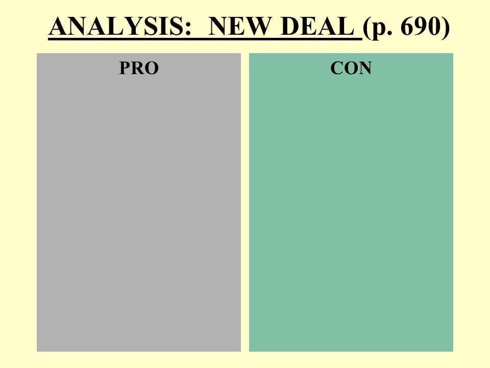 ANALYSIS: NEW DEAL (p. 690) PROCON