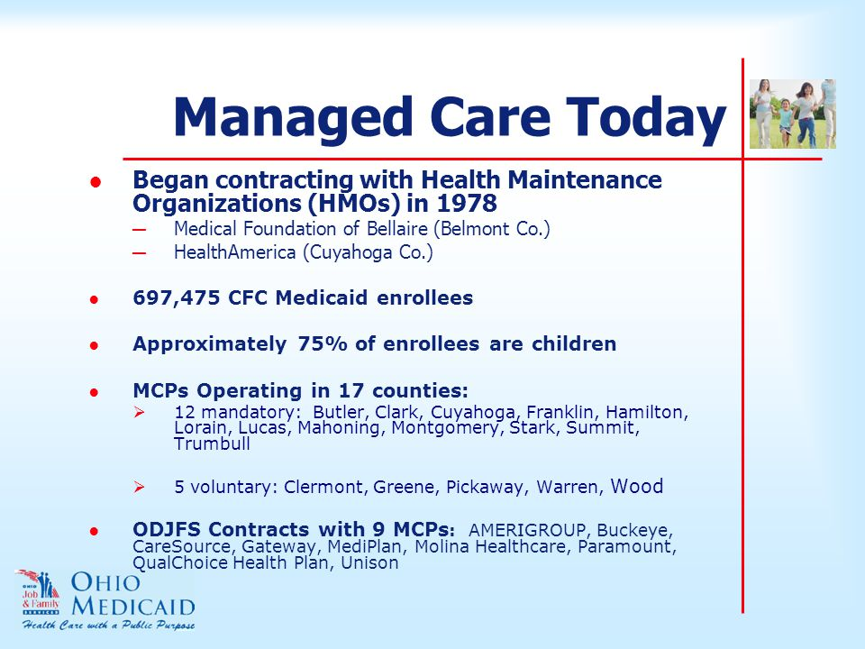 Managed Care Today ● Began contracting with Health Maintenance Organizations (HMOs) in 1978 ─ Medical Foundation of Bellaire (Belmont Co.) ─ HealthAmerica (Cuyahoga Co.) ●697,475 CFC Medicaid enrollees ●Approximately 75% of enrollees are children ●MCPs Operating in 17 counties:  12 mandatory: Butler, Clark, Cuyahoga, Franklin, Hamilton, Lorain, Lucas, Mahoning, Montgomery, Stark, Summit, Trumbull  5 voluntary: Clermont, Greene, Pickaway, Warren, Wood ●ODJFS Contracts with 9 MCPs : AMERIGROUP, Buckeye, CareSource, Gateway, MediPlan, Molina Healthcare, Paramount, QualChoice Health Plan, Unison
