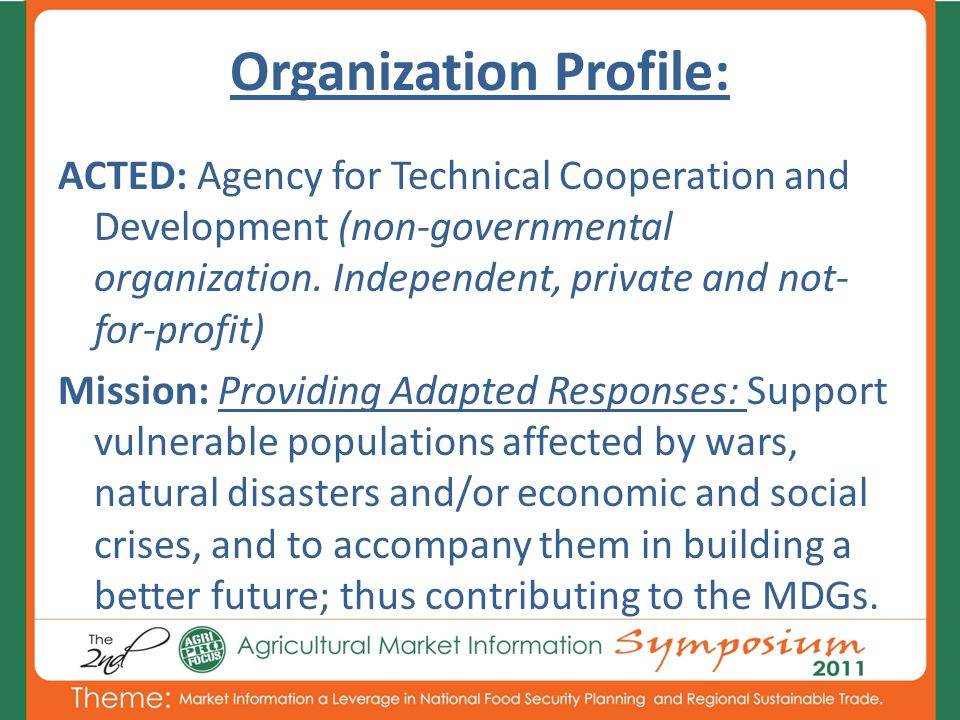Organization Profile: ACTED: Agency for Technical Cooperation and Development (non-governmental organization.
