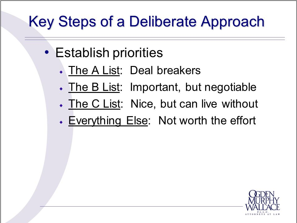 Key Steps of a Deliberate Approach Establish priorities The A List: Deal breakers The B List: Important, but negotiable The C List: Nice, but can live