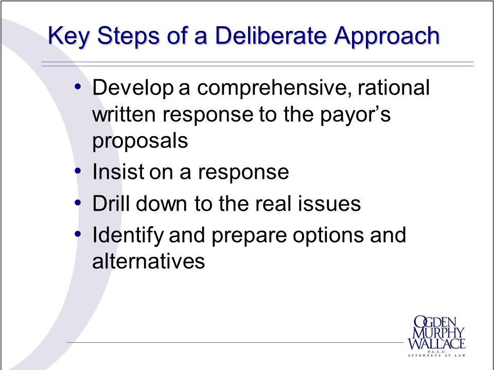 Key Steps of a Deliberate Approach Develop a comprehensive, rational written response to the payor's proposals Insist on a response Drill down to the real issues Identify and prepare options and alternatives