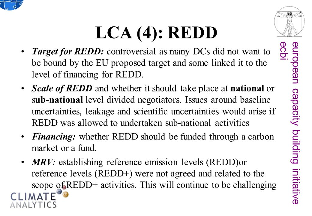 european capacity building initiativeecbi LCA (4): REDD Target for REDD: controversial as many DCs did not want to be bound by the EU proposed target and some linked it to the level of financing for REDD.