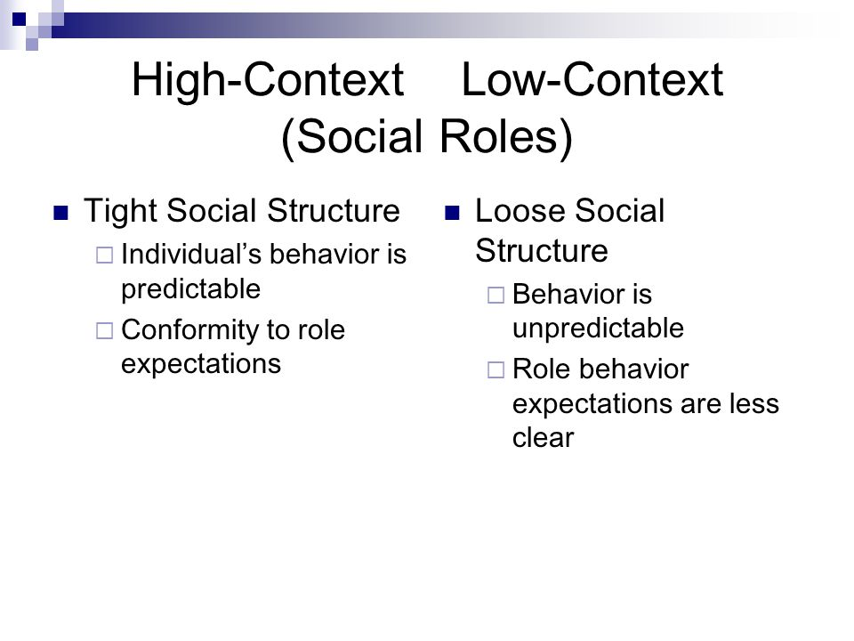High-Context Low-Context (Social Roles) Tight Social Structure  Individual's behavior is predictable  Conformity to role expectations Loose Social Structure  Behavior is unpredictable  Role behavior expectations are less clear