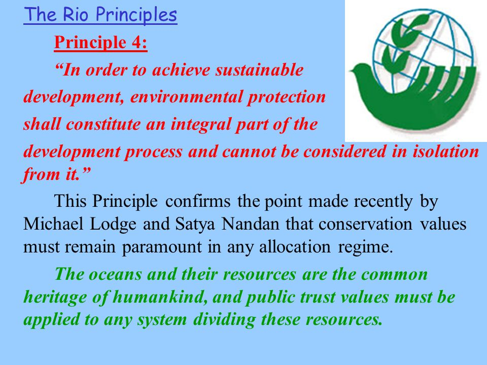 The Rio Principles Principle 4: In order to achieve sustainable development, environmental protection shall constitute an integral part of the development process and cannot be considered in isolation from it. This Principle confirms the point made recently by Michael Lodge and Satya Nandan that conservation values must remain paramount in any allocation regime.