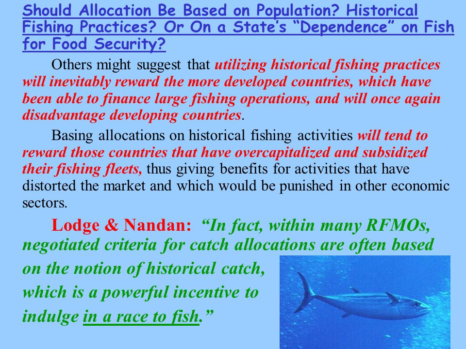 Should Allocation Be Based on Population. Historical Fishing Practices.