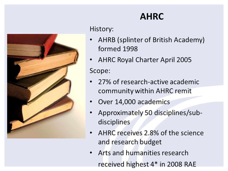 AHRC History: AHRB (splinter of British Academy) formed 1998 AHRC Royal Charter April 2005 Scope: 27% of research-active academic community within AHRC remit Over 14,000 academics Approximately 50 disciplines/sub- disciplines AHRC receives 2.8% of the science and research budget Arts and humanities research received highest 4* in 2008 RAE