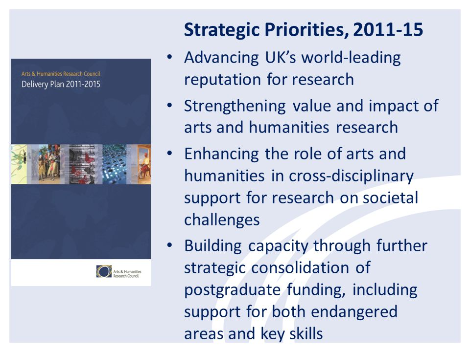 Strategic Priorities 2011-15 Providing opportunities for researchers to work outside HE and outside the UK throughout their research careers Through more strategic targeting of partnerships and greater brokerage activities, developing the capacity of A&H research to: - influence public policy - engage with the creative economy - have an impact internationally - have greater profile with public