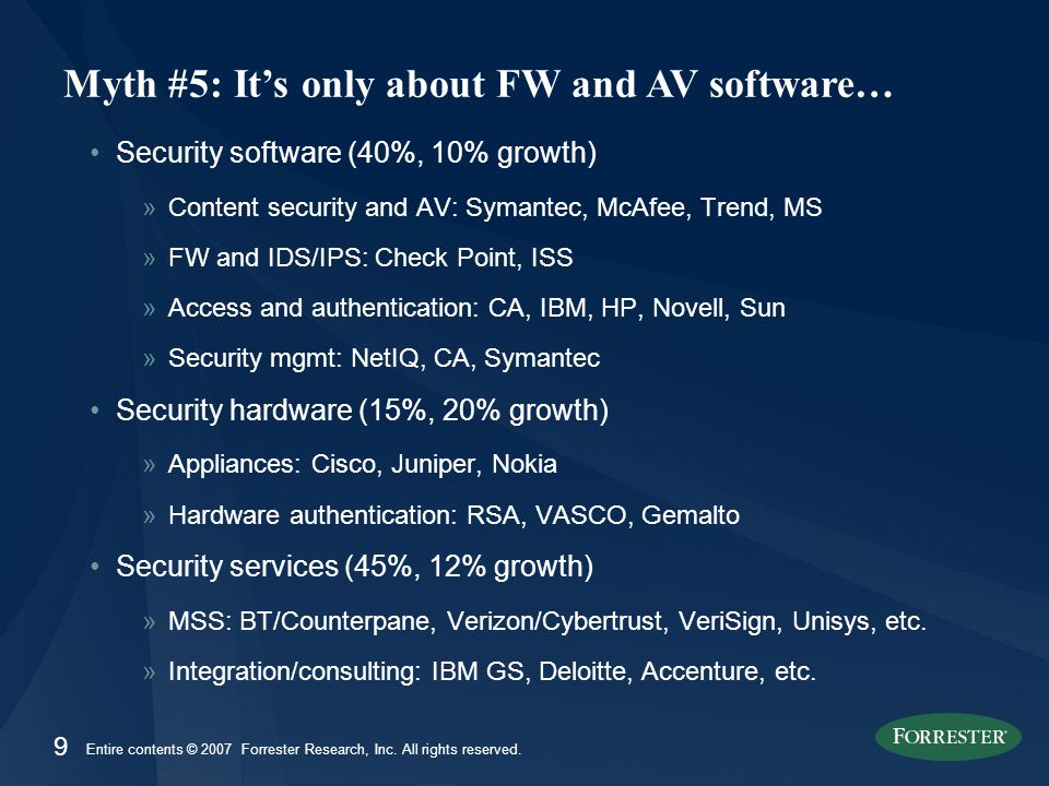 9 Entire contents © 2007 Forrester Research, Inc. All rights reserved. Security software (40%, 10% growth) »Content security and AV: Symantec, McAfee,