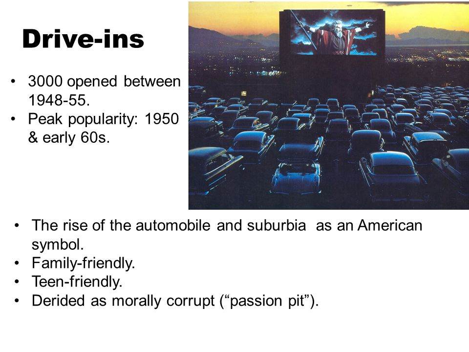 Drive-ins 3000 opened between 1948-55. Peak popularity: 1950 & early 60s.
