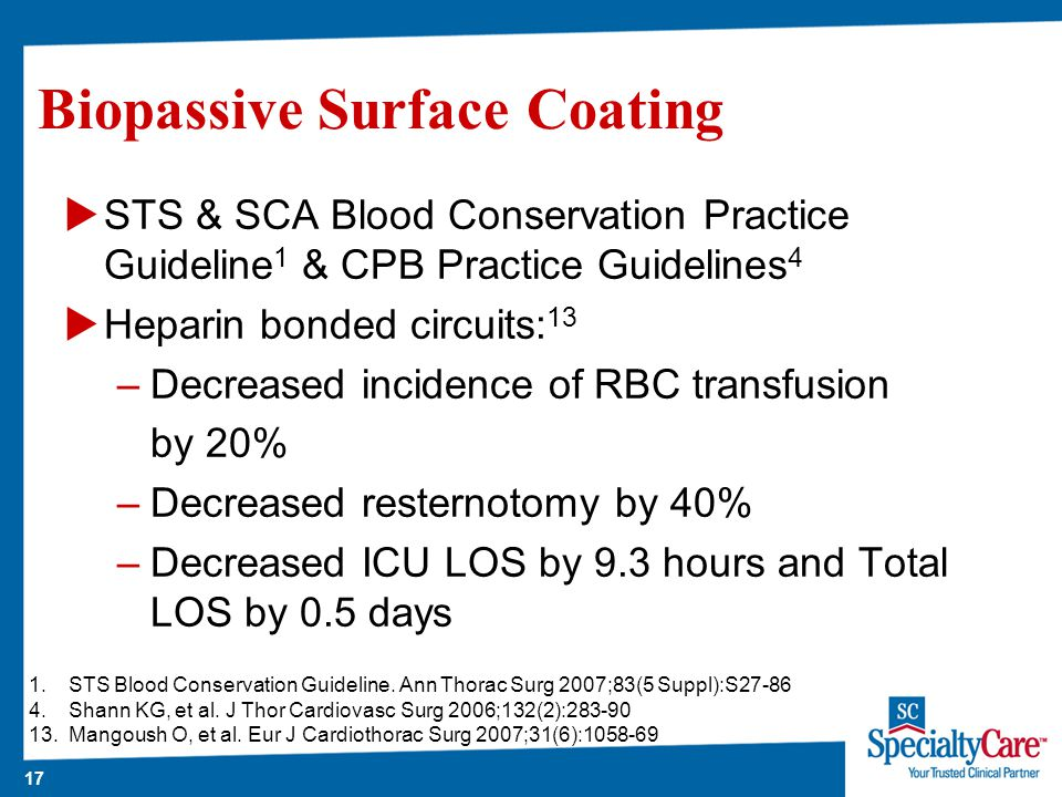 17 Biopassive Surface Coating  STS & SCA Blood Conservation Practice Guideline 1 & CPB Practice Guidelines 4  Heparin bonded circuits: 13 –Decreased incidence of RBC transfusion by 20% –Decreased resternotomy by 40% –Decreased ICU LOS by 9.3 hours and Total LOS by 0.5 days 1.STS Blood Conservation Guideline.