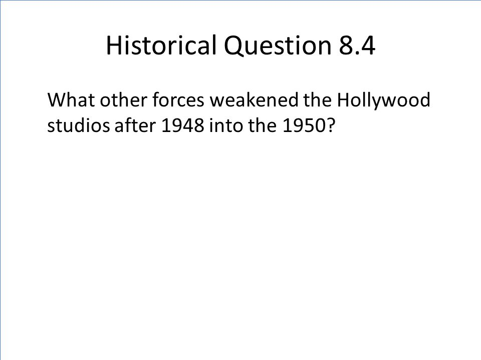 Historical Question 8.4 What other forces weakened the Hollywood studios after 1948 into the 1950