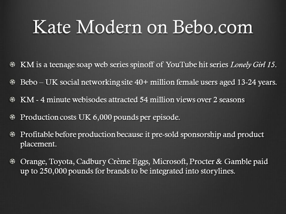 Kate Modern on Bebo.com KM is a teenage soap web series spinoff of YouTube hit series Lonely Girl 15. Bebo – UK social networking site 40+ million fem
