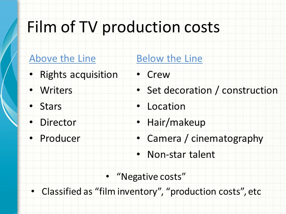 Film of TV production costs Above the Line Rights acquisition Writers Stars Director Producer Below the Line Crew Set decoration / construction Location Hair/makeup Camera / cinematography Non-star talent Negative costs Classified as film inventory , production costs , etc
