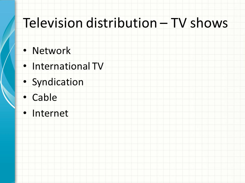 Television distribution – TV shows Network International TV Syndication Cable Internet