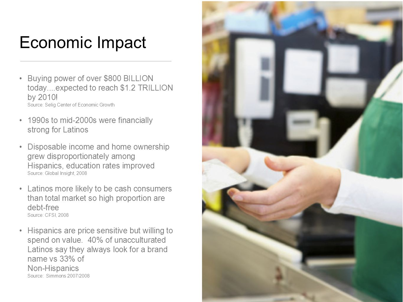 Economic Impact Buying power of over $800 BILLION today....expected to reach $1.2 TRILLION by 2010.