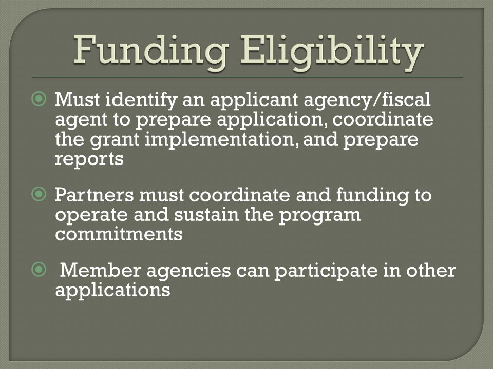  Must identify an applicant agency/fiscal agent to prepare application, coordinate the grant implementation, and prepare reports  Partners must coordinate and funding to operate and sustain the program commitments  Member agencies can participate in other applications