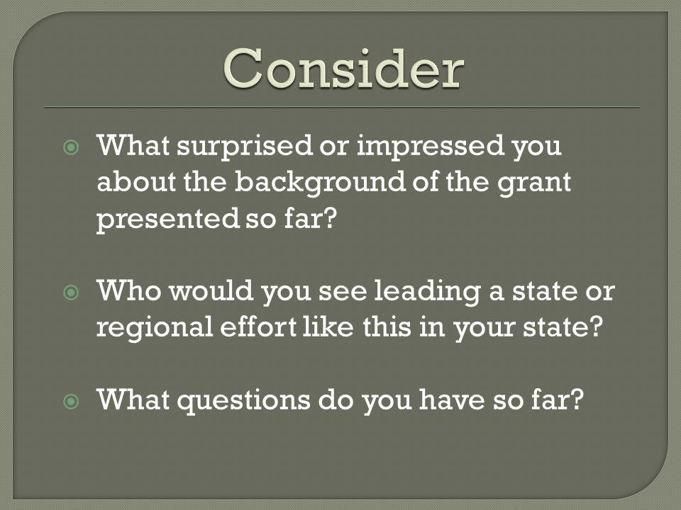  What surprised or impressed you about the background of the grant presented so far.