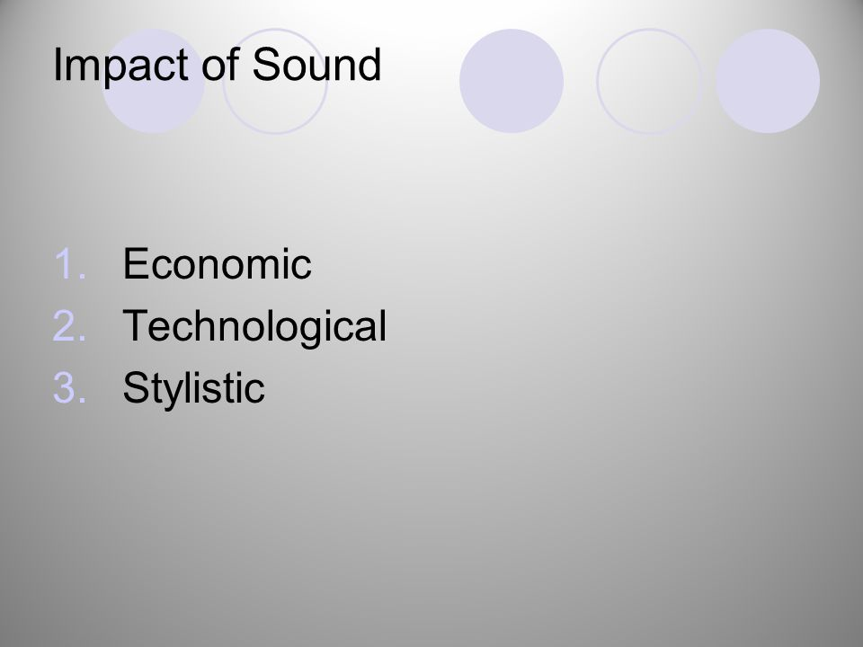 Impact of Sound 1.Economic 2.Technological 3.Stylistic