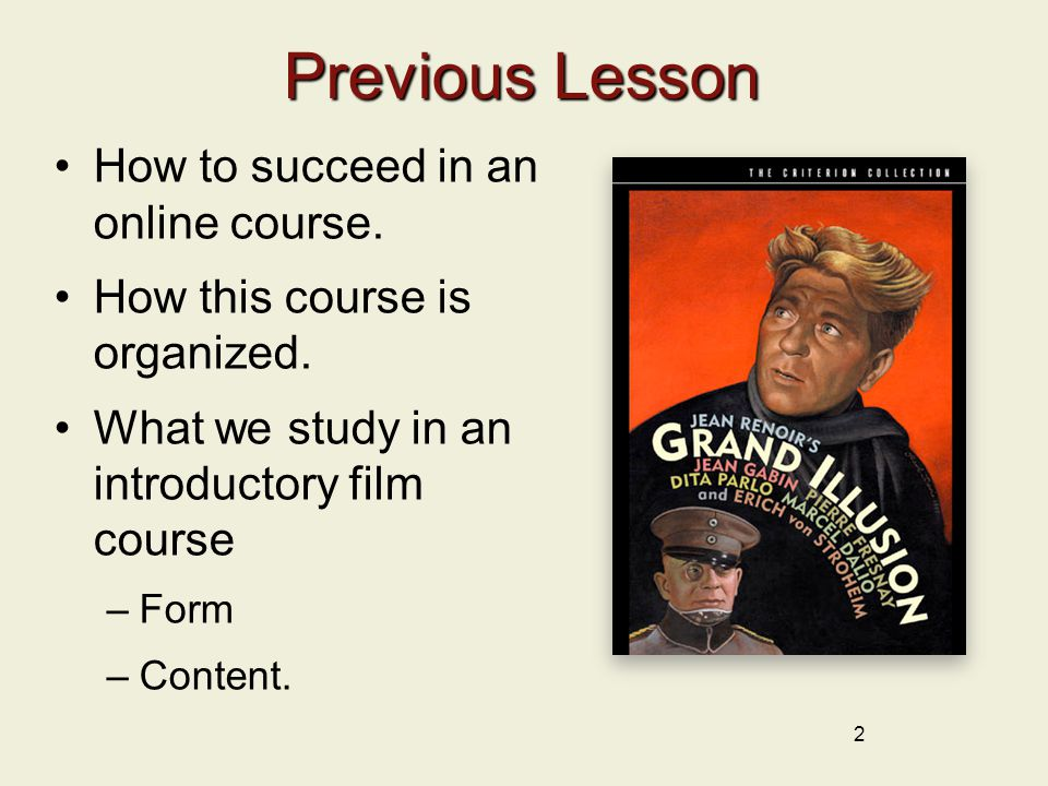 2 Previous Lesson How to succeed in an online course.