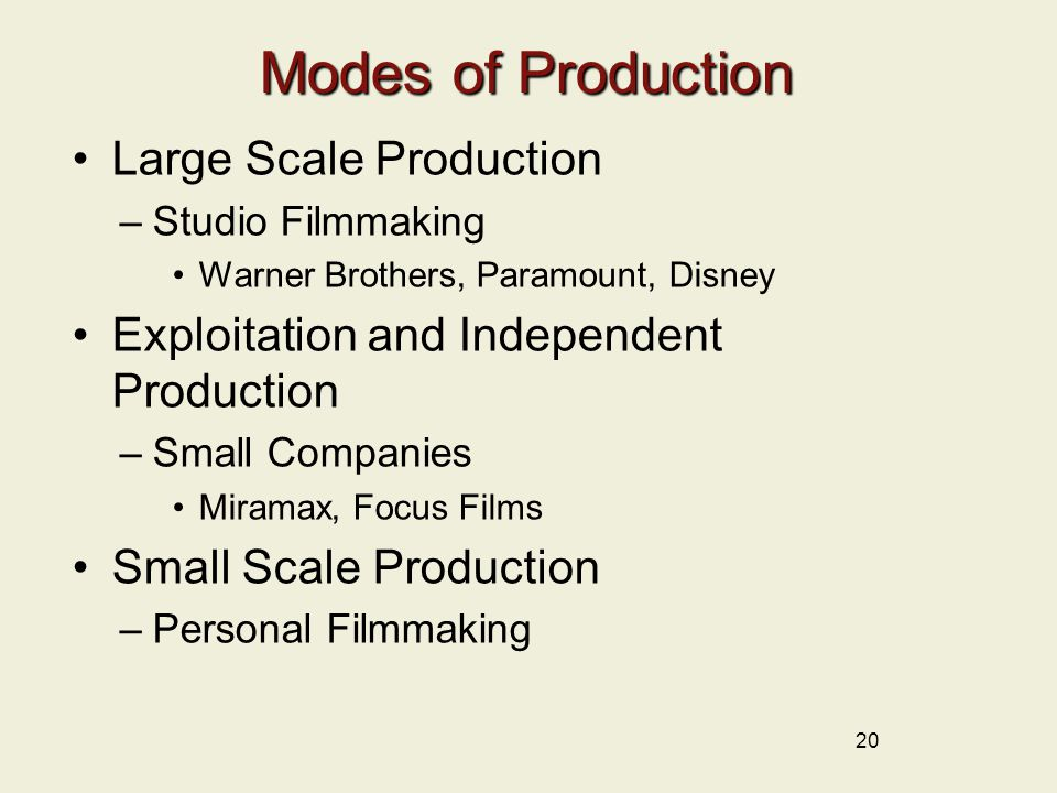 20 Modes of Production Large Scale Production –Studio Filmmaking Warner Brothers, Paramount, Disney Exploitation and Independent Production –Small Companies Miramax, Focus Films Small Scale Production –Personal Filmmaking