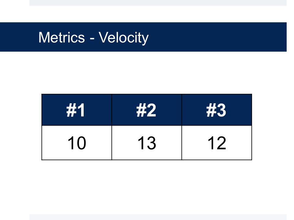 Metrics - Velocity #1#2#3 101312