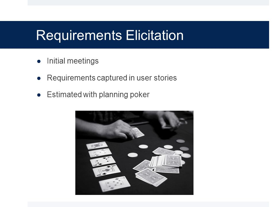 Requirements Elicitation ●Initial meetings ●Requirements captured in user stories ●Estimated with planning poker