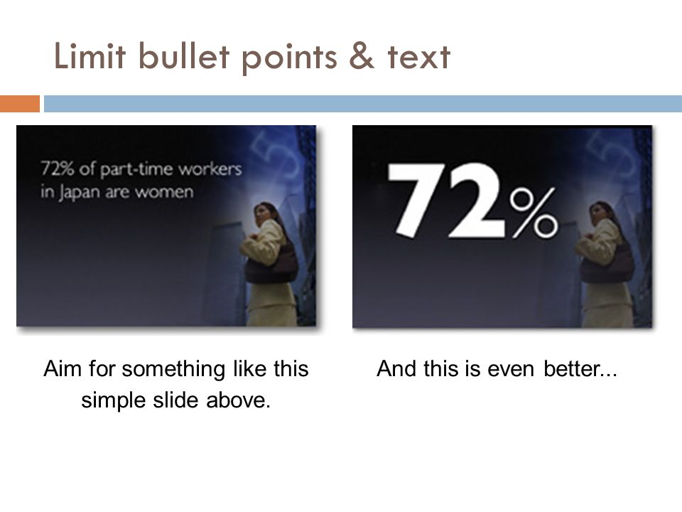 Limit bullet points & text Aim for something like this simple slide above.