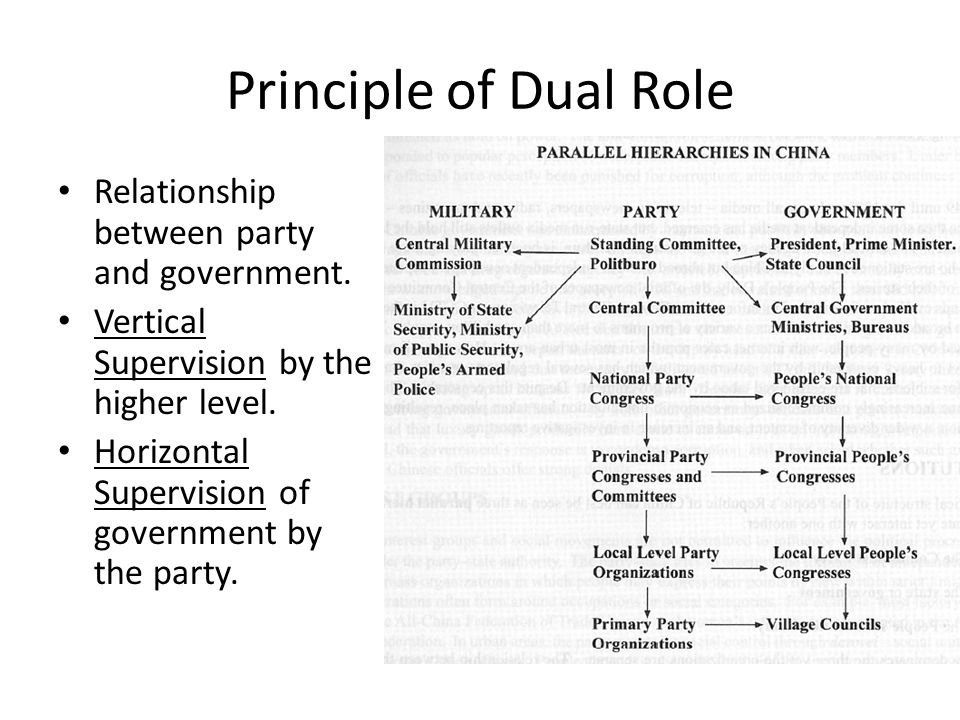 Principle of Dual Role Relationship between party and government.