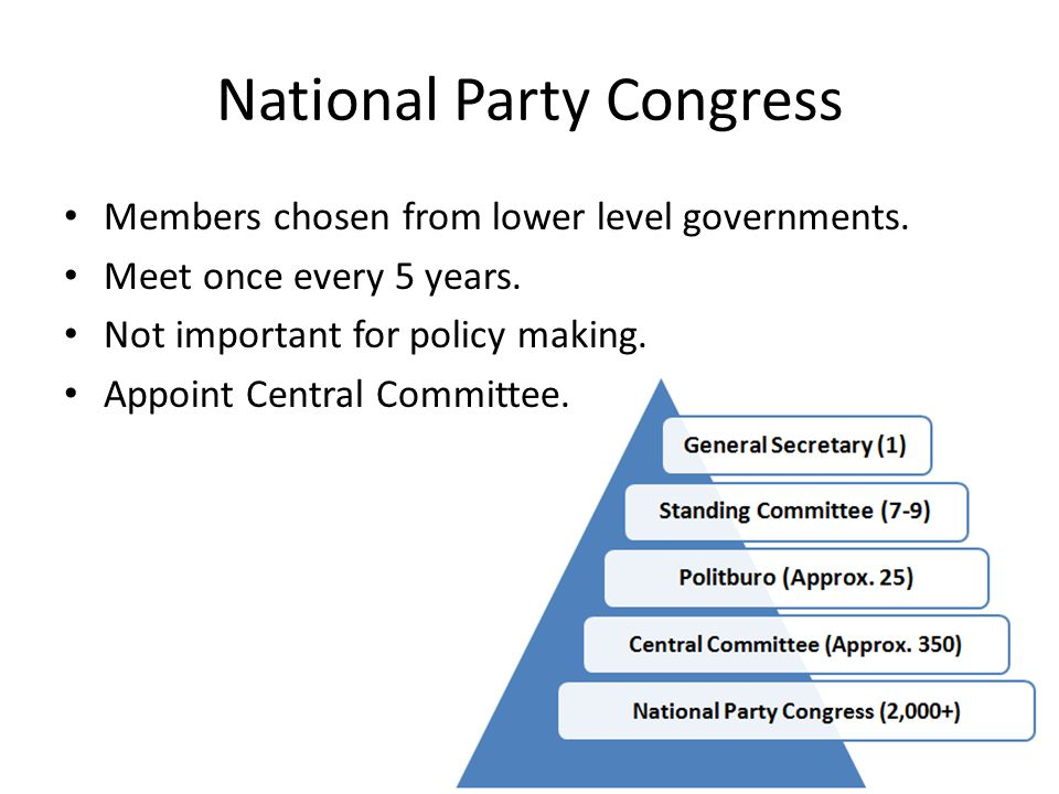 National Party Congress Members chosen from lower level governments.