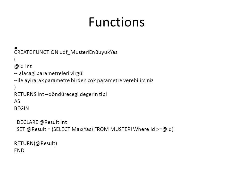 Functions CREATE FUNCTION udf_MusteriEnBuyukYas ( @Id int -- alacagi parametreleri virgül --ile ayirarak parametre birden cok parametre verebilirsiniz ) RETURNS int --döndürecegi degerin tipi AS BEGIN DECLARE @Result int SET @Result = (SELECT Max(Yas) FROM MUSTERI Where Id >=@Id) RETURN(@Result) END