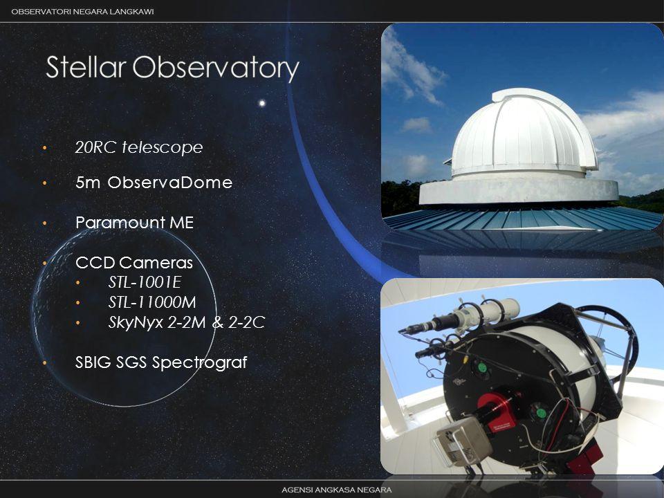 20RC telescope 5m ObservaDome Paramount ME CCD Cameras STL-1001E STL-11000M SkyNyx 2-2M & 2-2C SBIG SGS Spectrograf