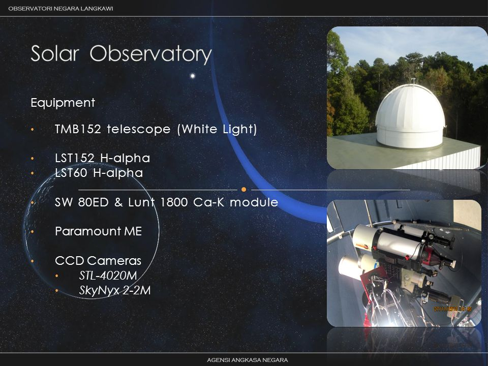 Equipment TMB152 telescope (White Light) LST152 H-alpha LST60 H-alpha SW 80ED & Lunt 1800 Ca-K module Paramount ME CCD Cameras STL-4020M SkyNyx 2-2M