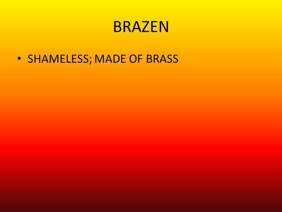 BRAZEN SHAMELESS; MADE OF BRASS