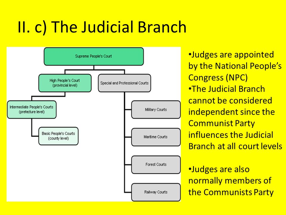 II. c) The Judicial Branch Judges are appointed by the National People's Congress (NPC) The Judicial Branch cannot be considered independent since the