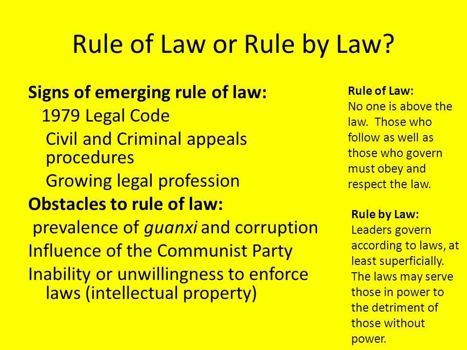 Rule of Law or Rule by Law.