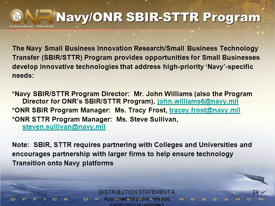 24 The Navy Small Business Innovation Research/Small Business Technology Transfer (SBIR/STTR) Program provides opportunities for Small Businesses develop innovative technologies that address high-priority 'Navy'-specific needs: *Navy SBIR/STTR Program Director: Mr.