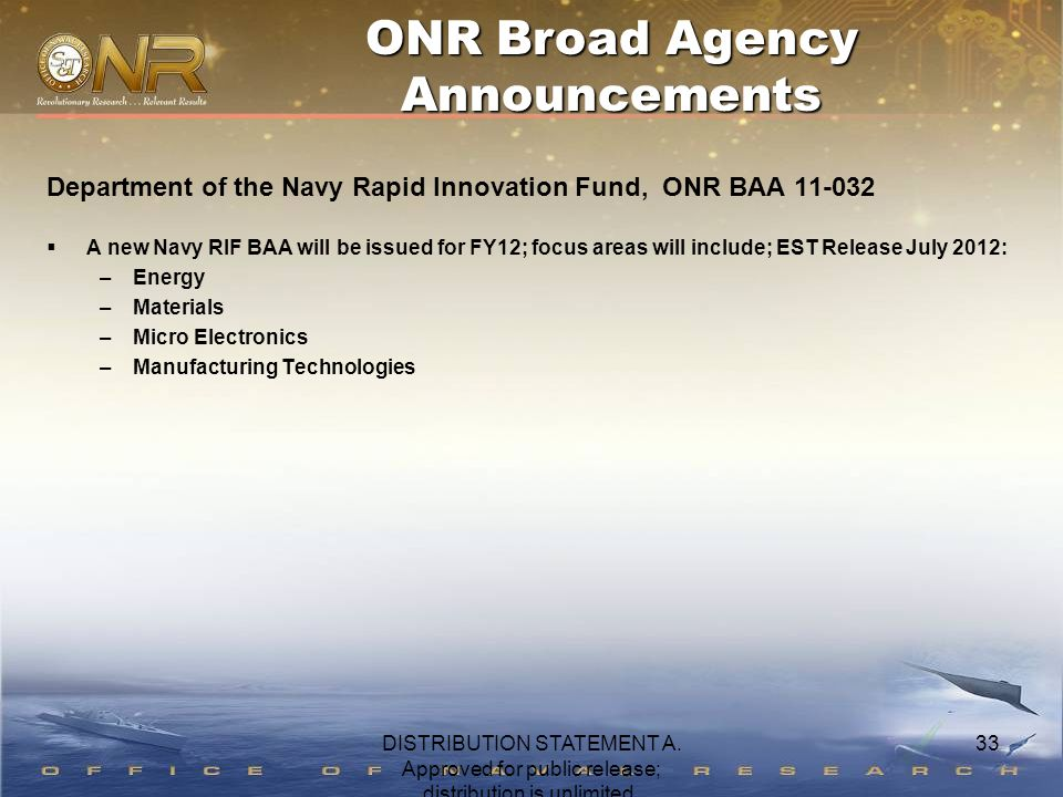 33 Department of the Navy Rapid Innovation Fund, ONR BAA 11-032  A new Navy RIF BAA will be issued for FY12; focus areas will include; EST Release Ju