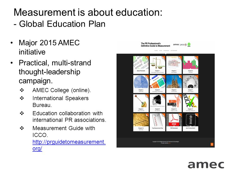 Measurement is about education: - Global Education Plan Major 2015 AMEC initiative Practical, multi-strand thought-leadership campaign.