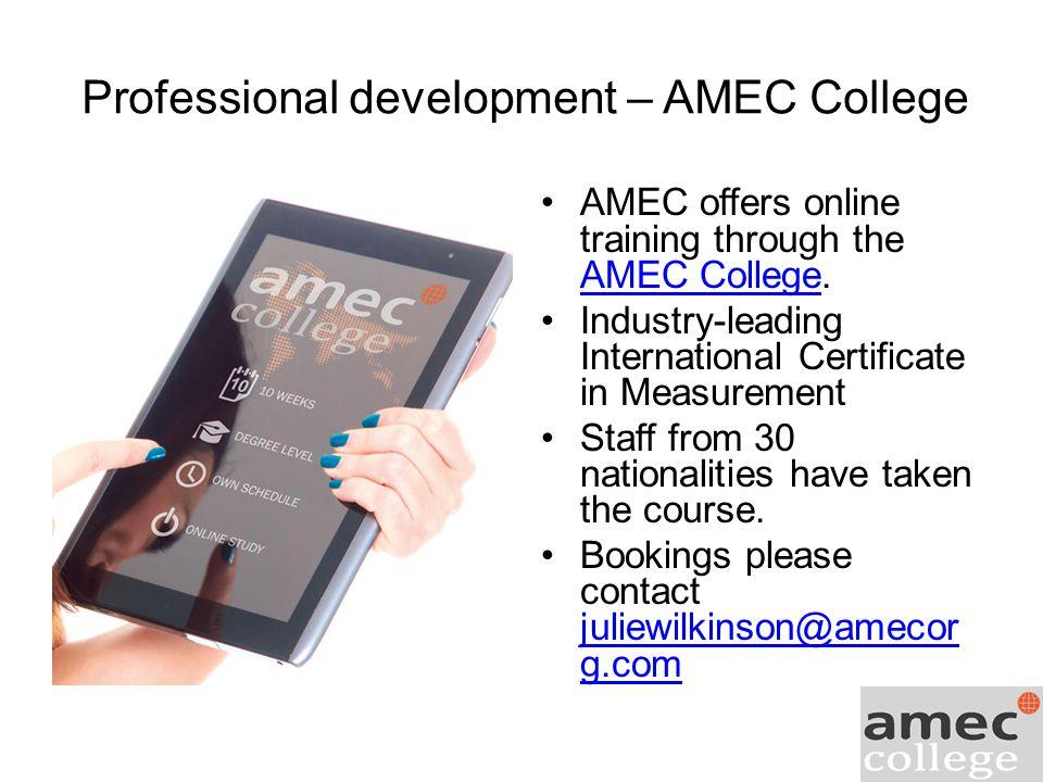 Professional development – AMEC College AMEC offers online training through the AMEC College.