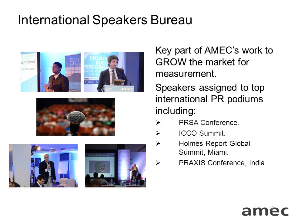 International Speakers Bureau Key part of AMEC's work to GROW the market for measurement.