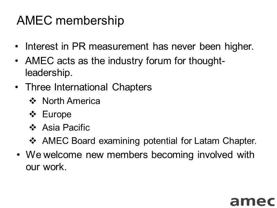 AMEC membership Interest in PR measurement has never been higher.