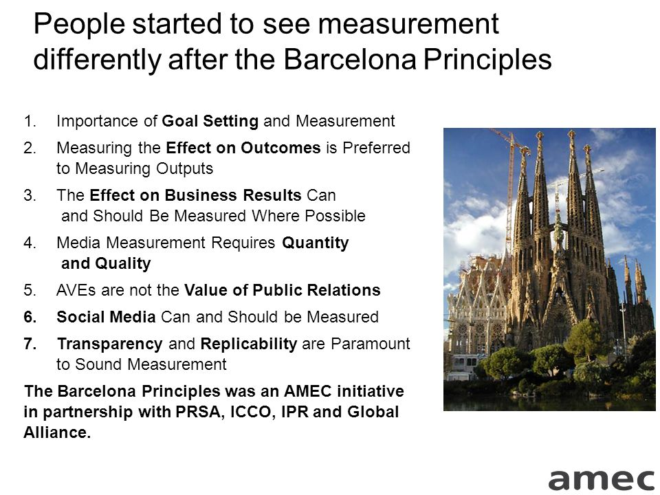 People started to see measurement differently after the Barcelona Principles 1.Importance of Goal Setting and Measurement 2.Measuring the Effect on Outcomes is Preferred to Measuring Outputs 3.The Effect on Business Results Can and Should Be Measured Where Possible 4.Media Measurement Requires Quantity and Quality 5.AVEs are not the Value of Public Relations 6.Social Media Can and Should be Measured 7.Transparency and Replicability are Paramount to Sound Measurement The Barcelona Principles was an AMEC initiative in partnership with PRSA, ICCO, IPR and Global Alliance.