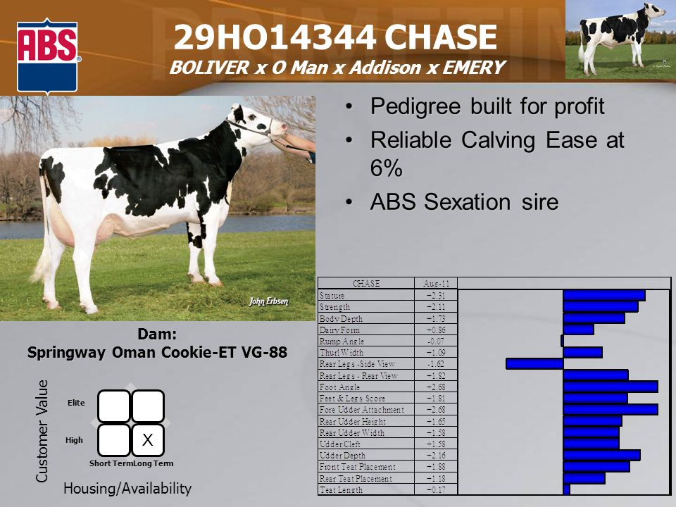 29HO14344 CHASE BOLIVER x O Man x Addison x EMERY Pedigree built for profitPedigree built for profit Reliable Calving Ease at 6%Reliable Calving Ease at 6% ABS Sexation sireABS Sexation sire Dam: Springway Oman Cookie-ET VG-88 Customer Value Housing/Availability Elite High Short TermLong Term