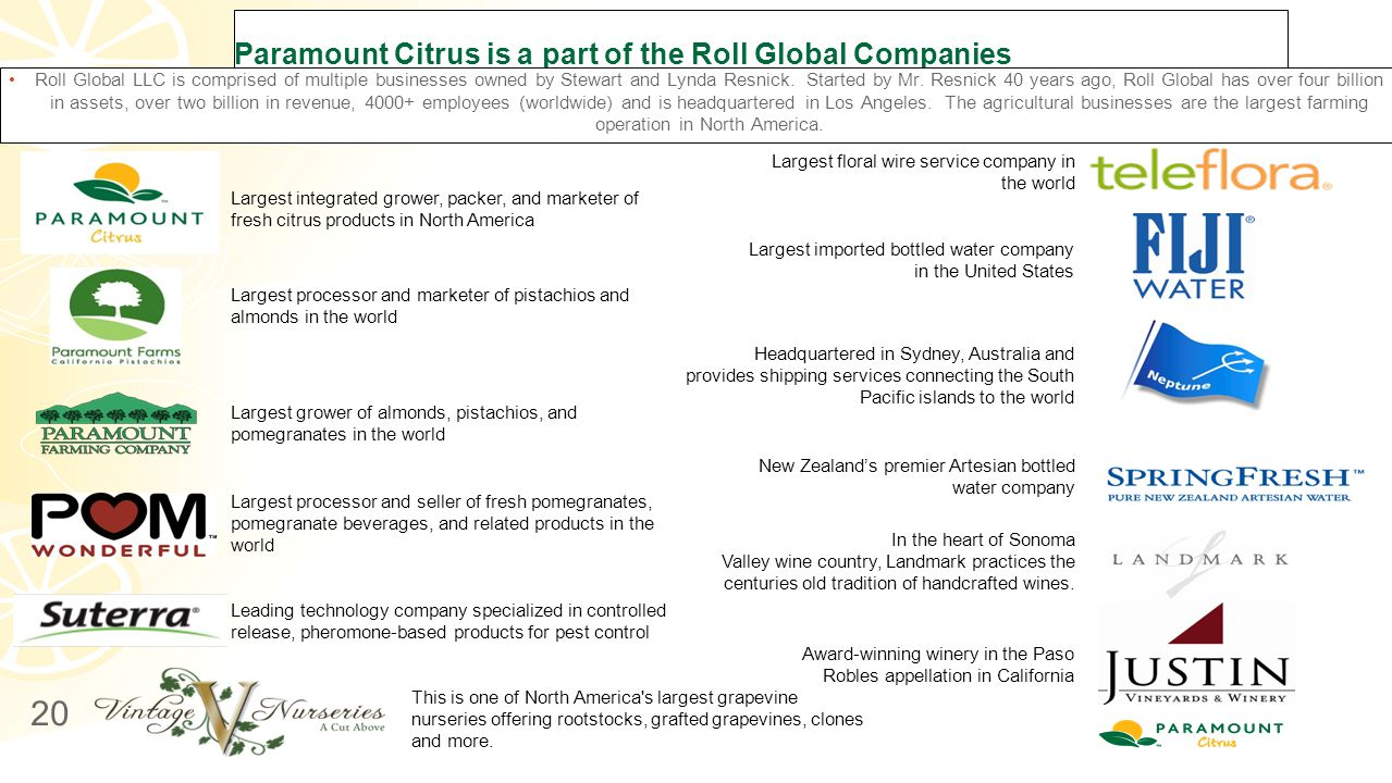 Paramount Citrus is a part of the Roll Global Companies Roll Global LLC is comprised of multiple businesses owned by Stewart and Lynda Resnick. Starte