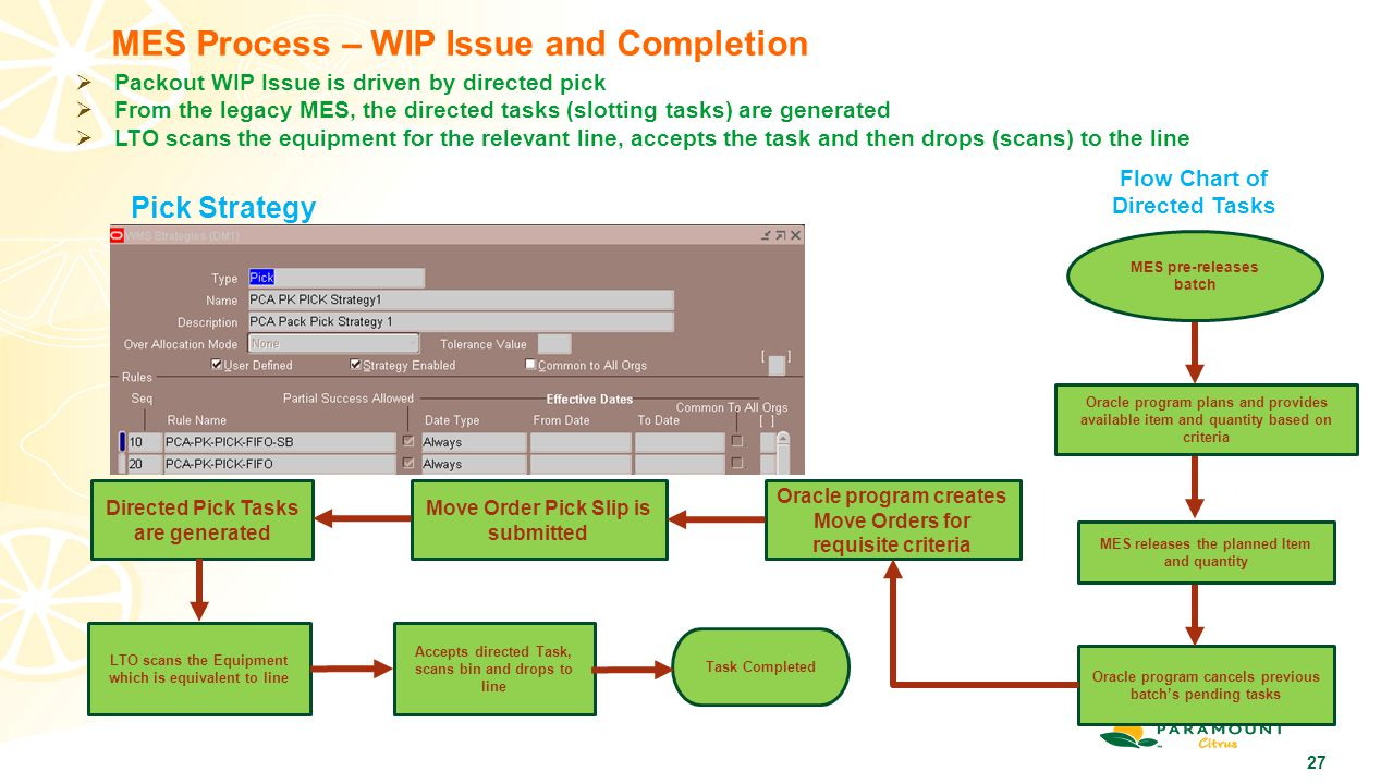 27  Packout WIP Issue is driven by directed pick  From the legacy MES, the directed tasks (slotting tasks) are generated  LTO scans the equipment f