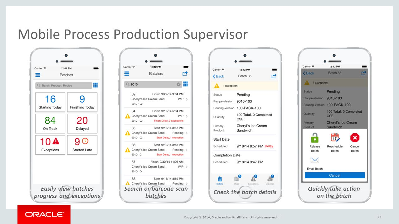 Copyright © 2014, Oracle and/or its affiliates. All rights reserved.   Mobile Process Production Supervisor Easily view batches progress and exception
