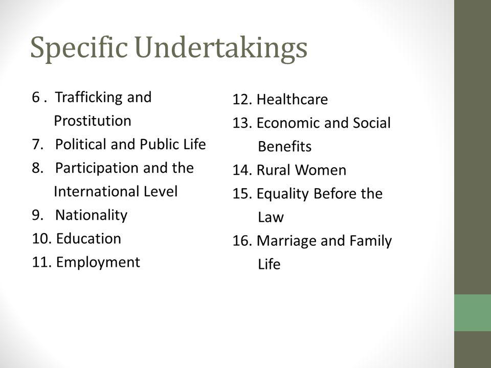 Specific Undertakings