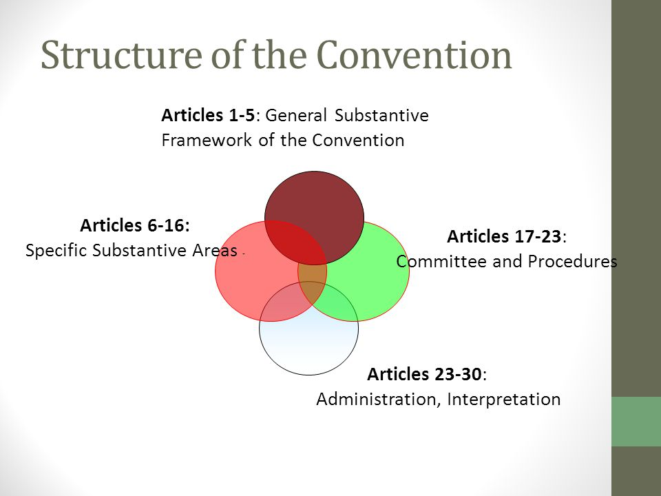 Structure of the Convention Articles 23-30: Administration, Interpretation Articles 1-5: General Substantive Framework of the Convention Articles 6-16: Specific Substantive Areas - Articles 17-23: Committee and Procedures