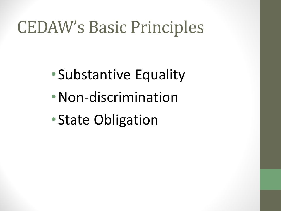 CEDAW's Basic Principles Substantive Equality Non-discrimination State Obligation