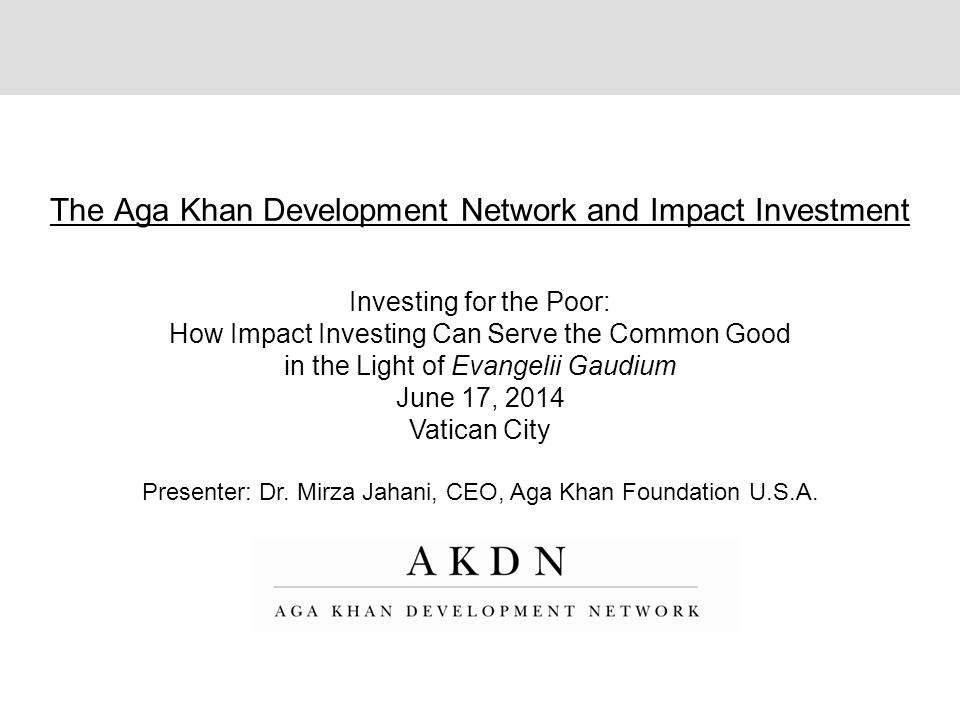 The Aga Khan Development Network and Impact Investment Investing for the Poor: How Impact Investing Can Serve the Common Good in the Light of Evangeli